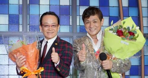 福田みのるが新曲「あまのじゃく」のヒットを宣誓。作詞・作曲の湯原昌幸もお祝いに。